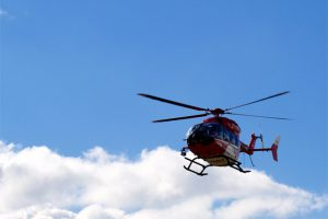 Photo of helicopter conducting medical transport flight by medical transport crash attorneys