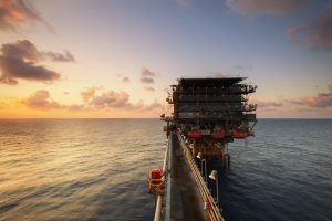 picture of off shore oil rig by offshore helicopter crash attorneys